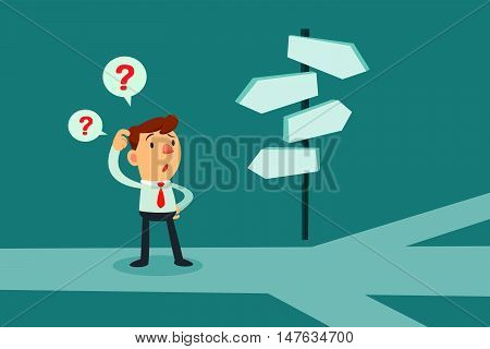 Businessman standing at cross road confused by direction signs. Choices and decision concept.