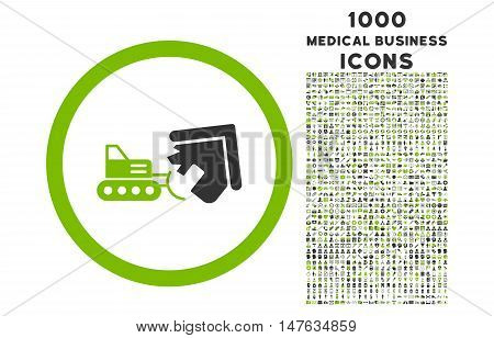 Demolition rounded vector bicolor icon with 1000 medical business icons. Set style is flat pictograms, eco green and gray colors, white background.