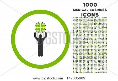 Globalist rounded vector bicolor icon with 1000 medical business icons. Set style is flat pictograms, eco green and gray colors, white background.