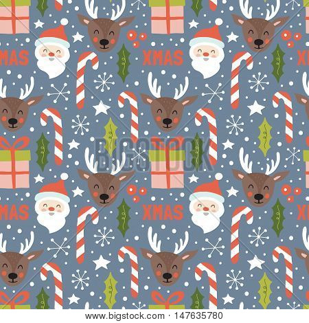 Christmas Holiday Seamless Pattern With Santa And Reindeer. Hand Drawing Vector Illustration