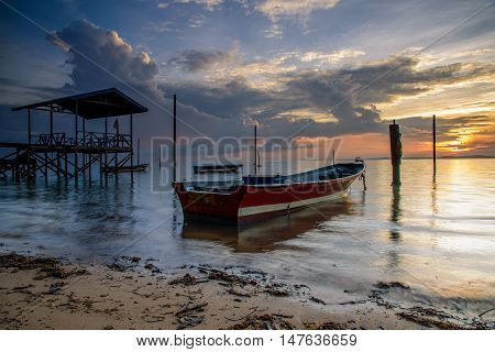 Labuan, Tanjung Aru Nelayan: The fisherman boat dock near the beach