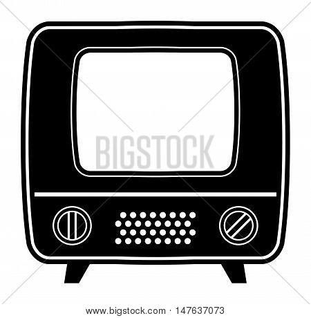 Retro abstract tv icon or symbol, vector illustration