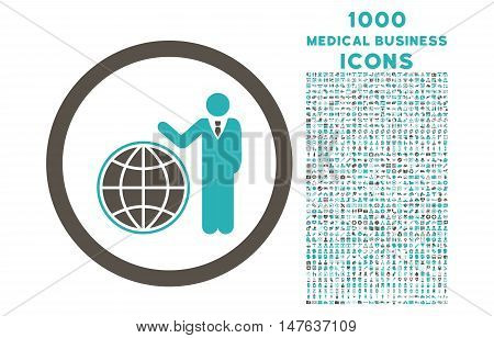 Global Manager rounded vector bicolor icon with 1000 medical business icons. Set style is flat pictograms, grey and cyan colors, white background.