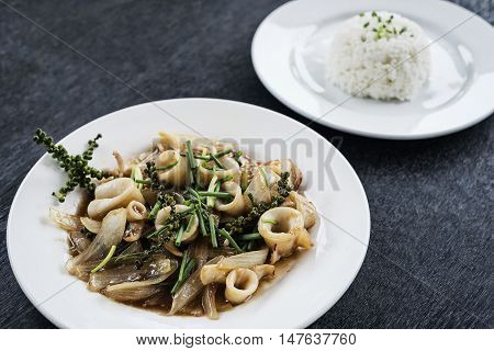 fresh squid and kampot green pepper stir fry traditional asian cambodian seafood meal