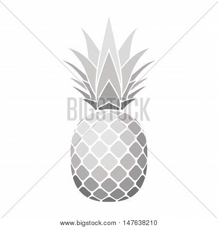 Pineapple silver icon. Tropical fruit isolated on white background.  Vector illustration