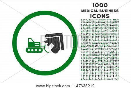 Demolition rounded vector bicolor icon with 1000 medical business icons. Set style is flat pictograms, green and gray colors, white background.