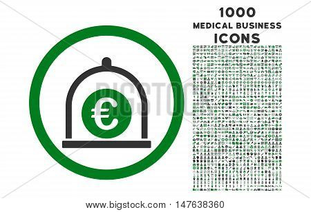 Euro Standard rounded vector bicolor icon with 1000 medical business icons. Set style is flat pictograms, green and gray colors, white background.