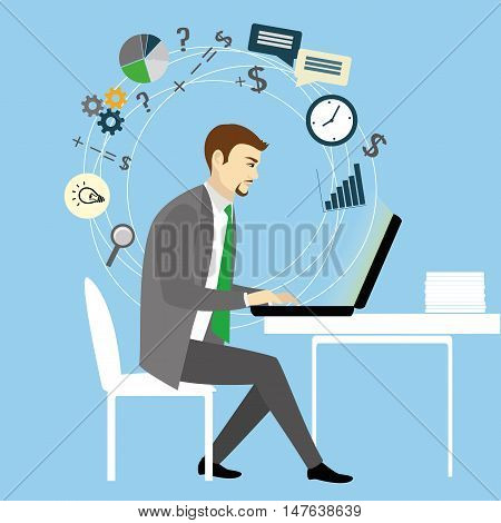 Man Working On laptop Computer.Businessman with application icons .Cartoon vector illustration