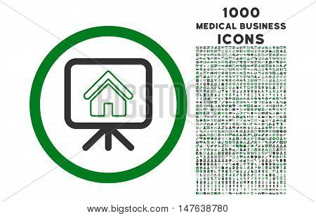 Project Slideshow rounded vector bicolor icon with 1000 medical business icons. Set style is flat pictograms, green and gray colors, white background.
