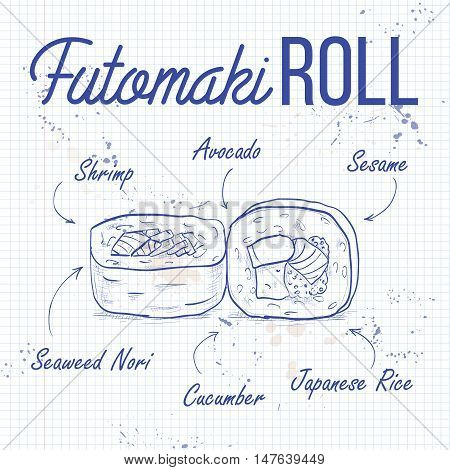 Futomaki roll recipe on a notebook page. Japanese cuisine, traditional food icon. Vector sushi sticker