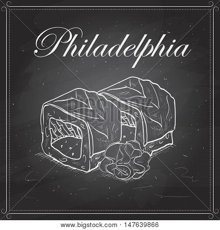 Vector sushi sketch, Philadelphia roll on a blackboard