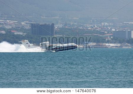 Gelendzhik Russia - September 9 2010: A pair of Beriev Be-200 amphibian planes is taking off from water surface