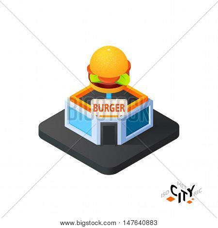 Isometric burger cafe flat icon isolated on white background, building city infographic element, digital low poly graphic, vector illustration
