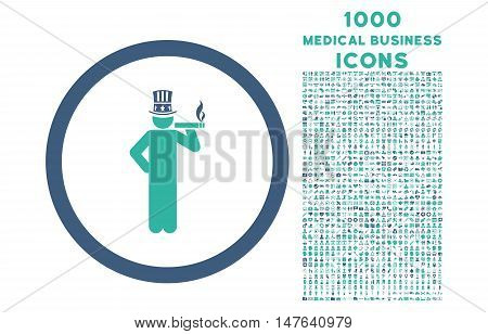 American Capitalist rounded vector bicolor icon with 1000 medical business icons. Set style is flat pictograms, cobalt and cyan colors, white background.