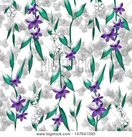 violet flowers and green vines scrapbook page illustration