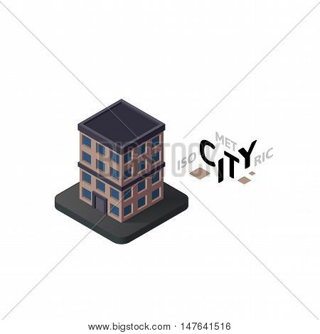 Isometric apartment house flat icon isolated on white background, building city infographic element, digital low poly graphic, vector illustration