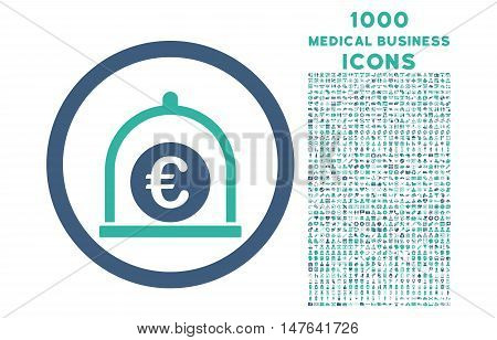Euro Standard rounded vector bicolor icon with 1000 medical business icons. Set style is flat pictograms, cobalt and cyan colors, white background.