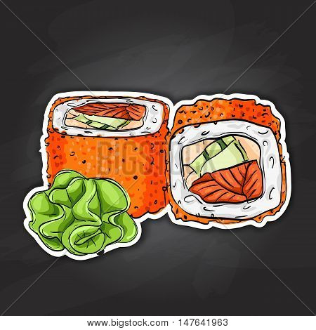 California rolls with tobiko, shrimp or tuna and avacado. Sushi rolls set icons. Vector sushi color sticker