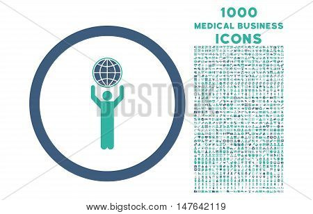 Globalist rounded vector bicolor icon with 1000 medical business icons. Set style is flat pictograms, cobalt and cyan colors, white background.