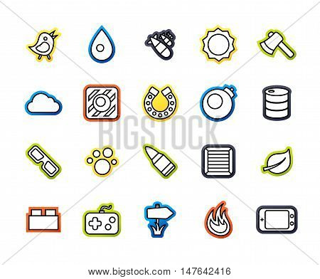 Outline icons thin flat design, modern line stroke style, web and mobile design element, objects and vector illustration icons set 4 - game collection