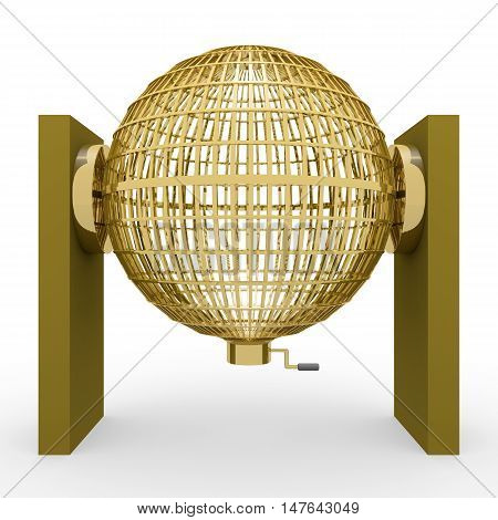 3D Rendering Golden Lottery Cage