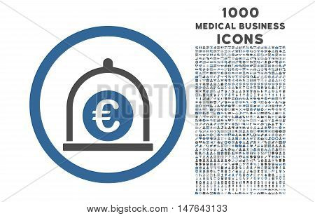 Euro Standard rounded vector bicolor icon with 1000 medical business icons. Set style is flat pictograms, cobalt and gray colors, white background.