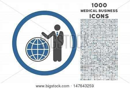 Global Manager rounded vector bicolor icon with 1000 medical business icons. Set style is flat pictograms, cobalt and gray colors, white background.