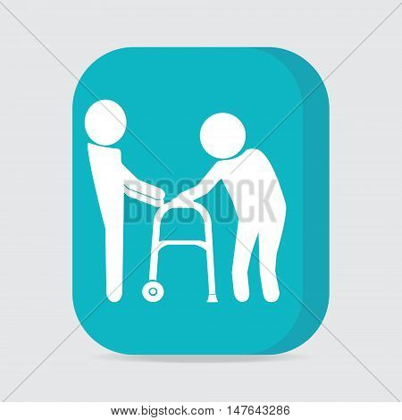 Man helps elderly patient with a walker button vector illustration