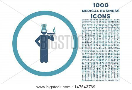 American Capitalist rounded vector bicolor icon with 1000 medical business icons. Set style is flat pictograms, cyan and blue colors, white background.