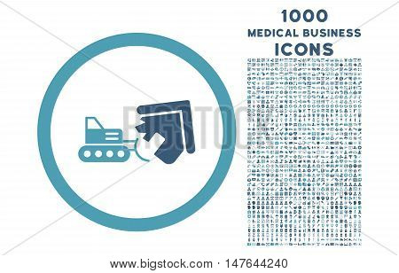 Demolition rounded vector bicolor icon with 1000 medical business icons. Set style is flat pictograms, cyan and blue colors, white background.