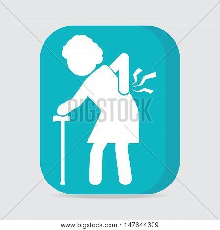 Elderly woman with stick and injury of the back pain icon Old people sign