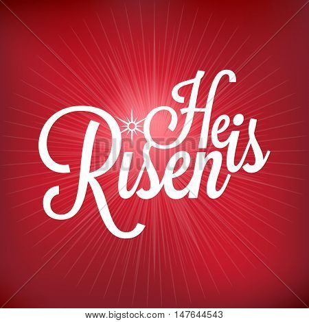 He is risen typographic, Jesus risen concept with light burst, beam of light background, mesh tool, no gradient