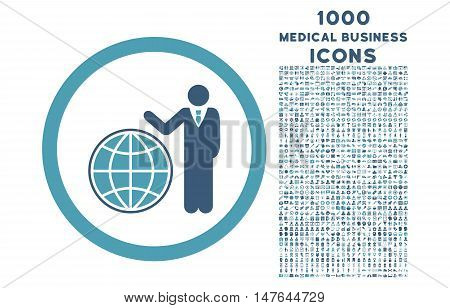 Global Manager rounded vector bicolor icon with 1000 medical business icons. Set style is flat pictograms, cyan and blue colors, white background.
