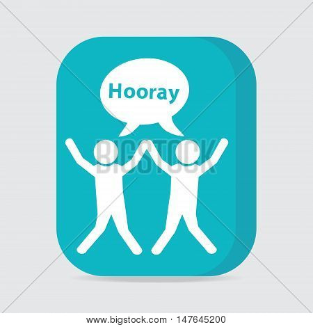 People with hands up and happy motion button vector illustration