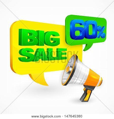 Big Sale Inscription & Megaphone