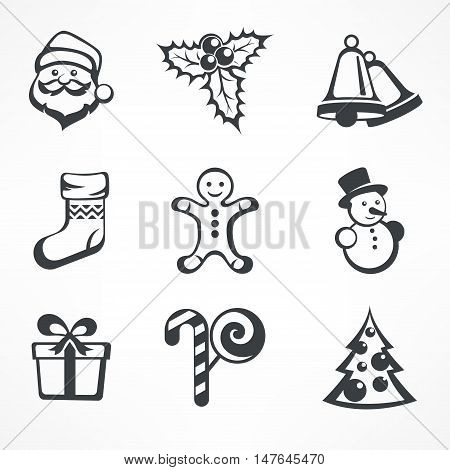 Christmas icon set in grey color on white vector illustration