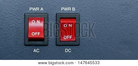 AC and DC Power switch for equipment