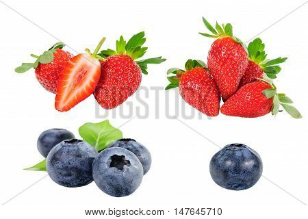 Collection of Black berryand straeberry on background