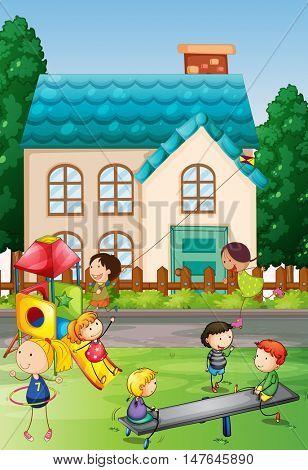 Children playing in the neighborhood park illustration
