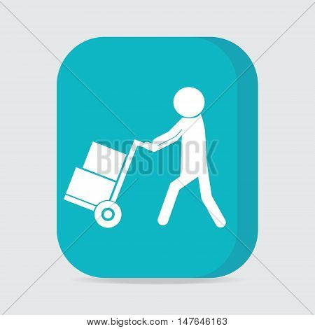 Man with handcart symbol button vector illustration