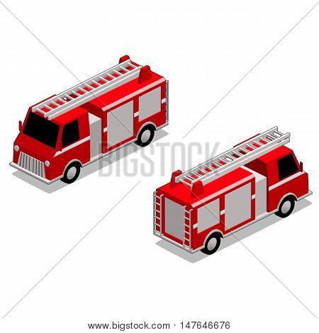 Isometric red fire fighter truck in isolated white background. The style is cell shaded, but cell shaded outline can be removed.