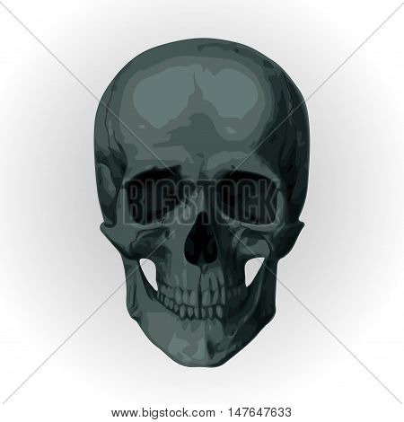 Halloween night: moon beautiful castle chateau zombie zombi gate ghost carved scary pumpkin trees bat rearmouse. Vector vertical closeup side view sign signboard illustration to celebration holiday Skeleton skull cranium braincase brainpan pericranium dea