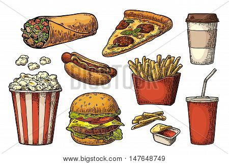 Set fast food. Cup cola, coffee, burrito, hamburger, pizza, hotdog, fry potato in paper box, carton bucket popcorn, ketchup. Isolated white background. Vector vintage engraving illustration for menu