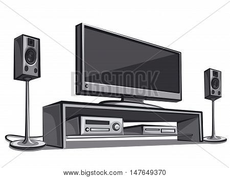illustration of modern home cinema system in room