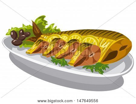 smoked mackerel on plate with olives and lettuce