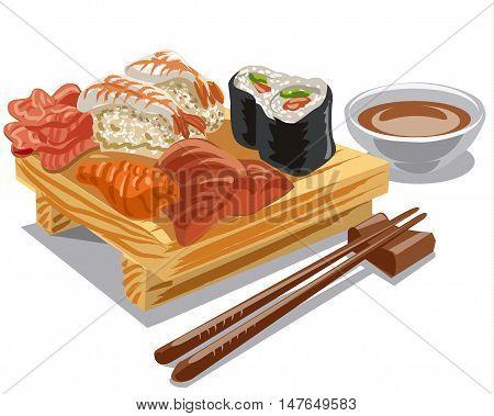 illustration of japan sea food sushi rolls with sauce