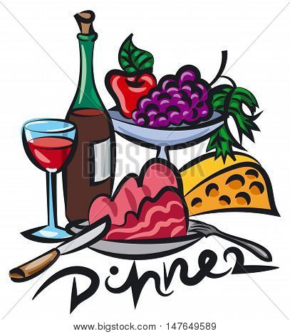 illustration of dinner with wine meat and cheese