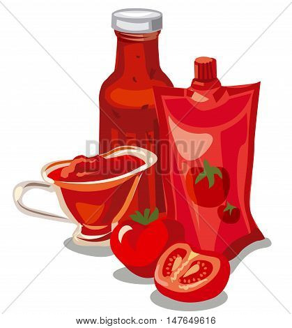 illustration of tomato ketchup and sauce and sliced tomatoes