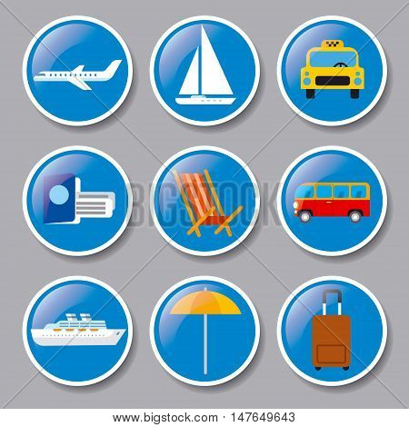 set of icons of travel concept sea resort cruise and journey