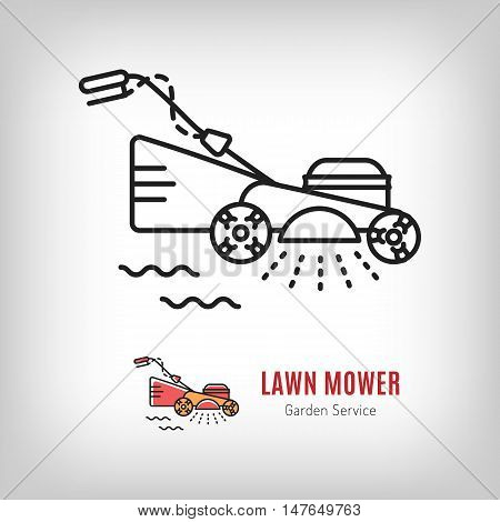Vector lawn mower icon in a line art style. Mowing grass, Gardening tools emblem. Illustration isolated logo lawn mower on a white background